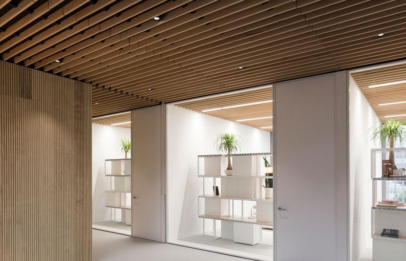 falso techo de lamas de madera wood slat false ceiling Faux plafond de lames bois 0189