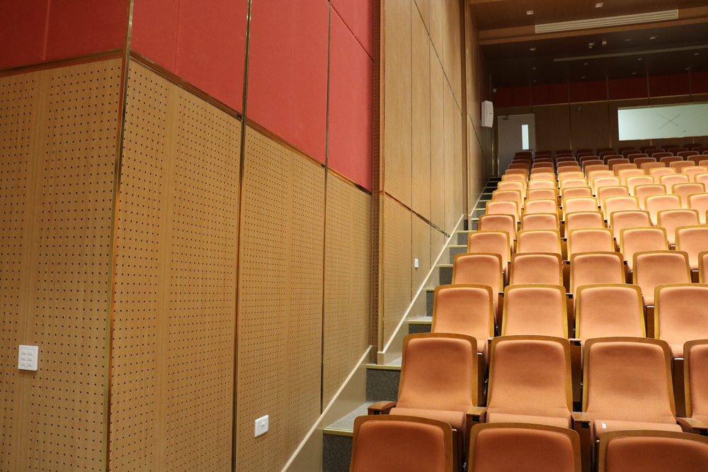 Wood acoustic panelling for Qatar auditoriums Doha Modern