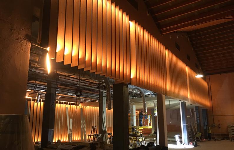 Lamas de madera Spigoline instaladas en bodega marques de vargas
